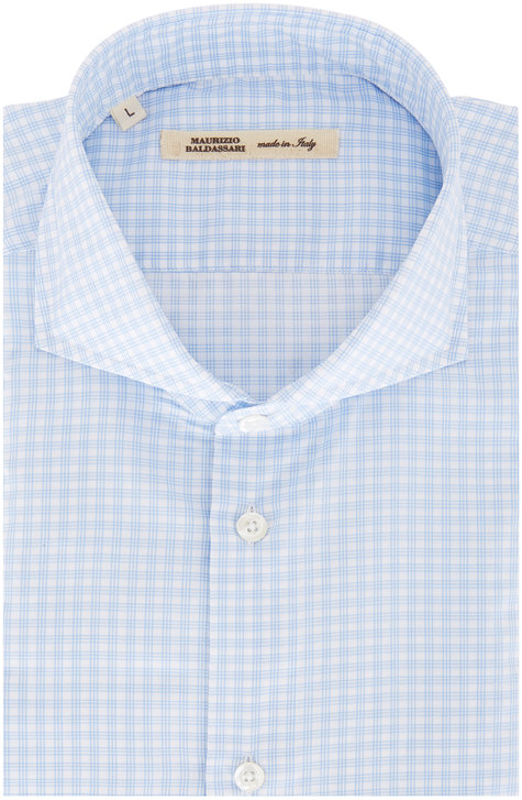 Maurizio Baldassari Light Blue Tattersall Sport Shirt