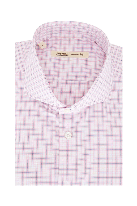 Maurizio Baldassari Pink & Navy Blue Tattersall Sport Shirt