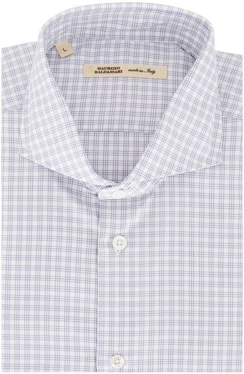 Maurizio Baldassari Light Gray Tattersall Sport Shirt