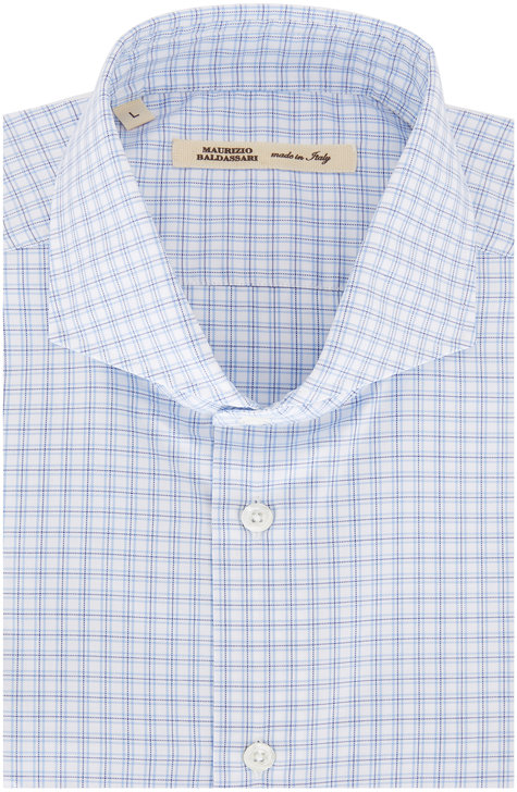 Maurizio Baldassari Light Blue Plaid Sport Shirt