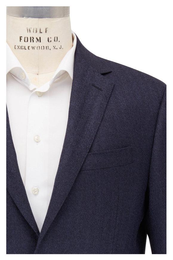 Maurizio Baldassari Navy Blue Herringbone Wool Sportcoat