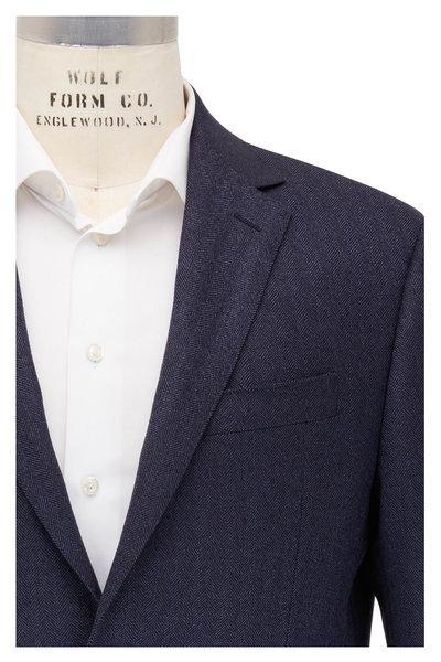 Maurizio Baldassari - Navy Blue Herringbone Wool Sportcoat