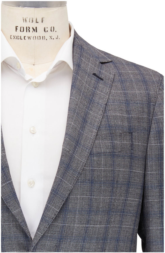 Maurizio Baldassari Navy Blue & Black Plaid Wool Sportcoat