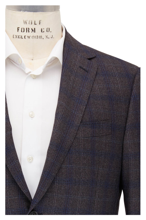 Maurizio Baldassari Brown & Blue Plaid Wool Sportcoat