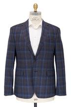 Maurizio Baldassari - Blue & Brown Plaid Wool Sportcoat