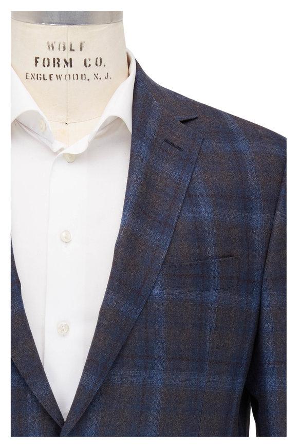 Maurizio Baldassari Blue & Brown Plaid Wool Sportcoat