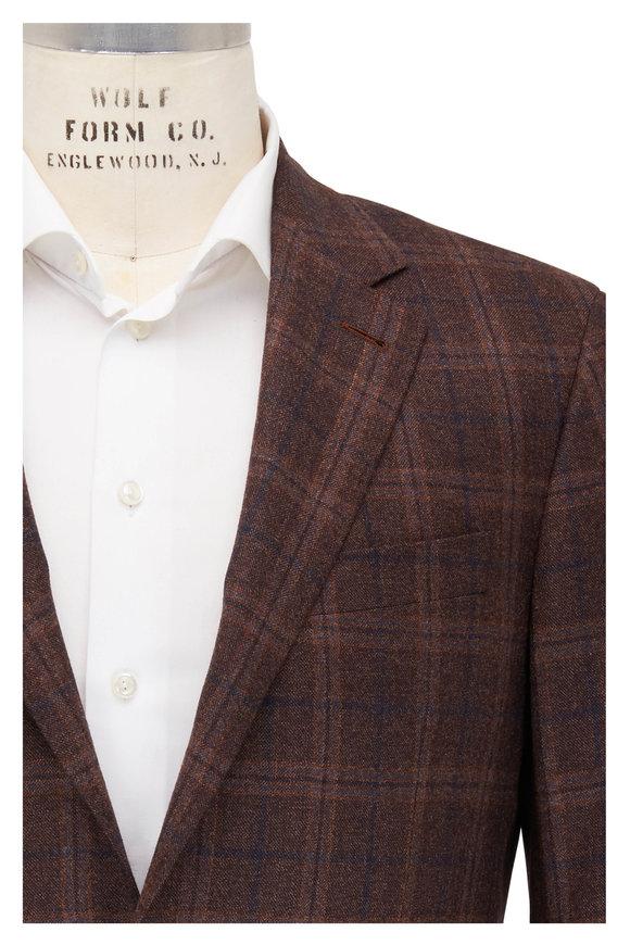 Canali Kei Dark Brown & Navy Blue Plaid Wool Sportcoat