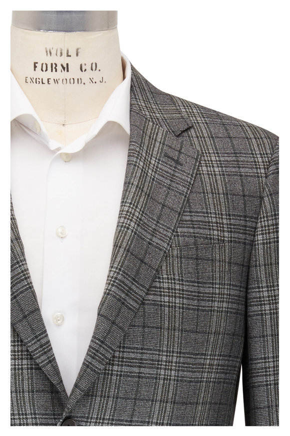 Canali Green Wool & Cashmere Plaid Sportcoat