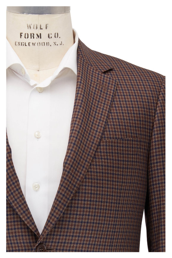 Canali Brown & Navy Blue Check Silk & Wool Sportcoat