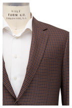 Canali - Brown & Navy Blue Check Silk & Wool Sportcoat