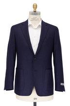 Canali - Kei Navy Blue Wool Birdseye Sportcoat.