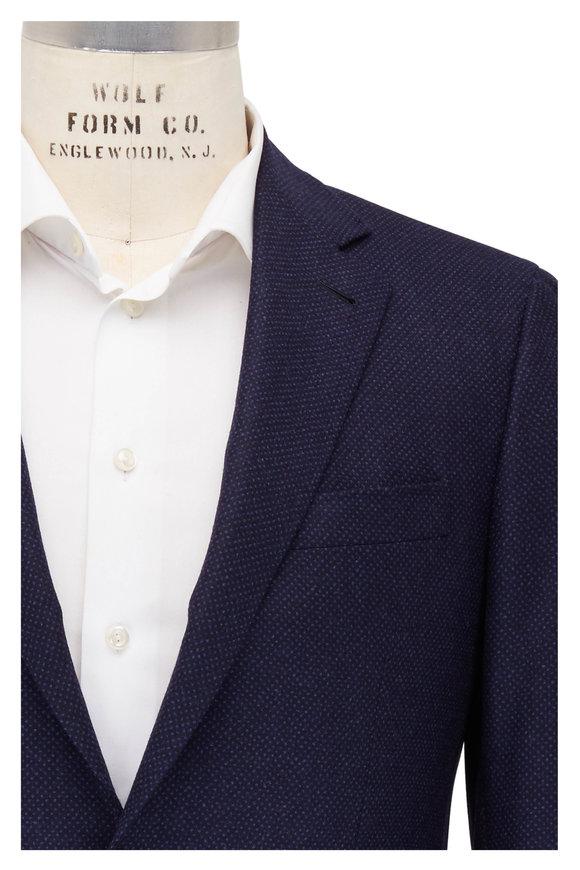 Canali Kei Navy Blue Wool Birdseye Sportcoat.
