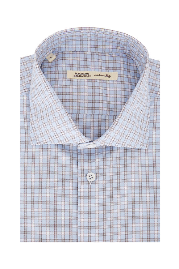 Maurizio Baldassari Light Blue Plaid Sport Shirt
