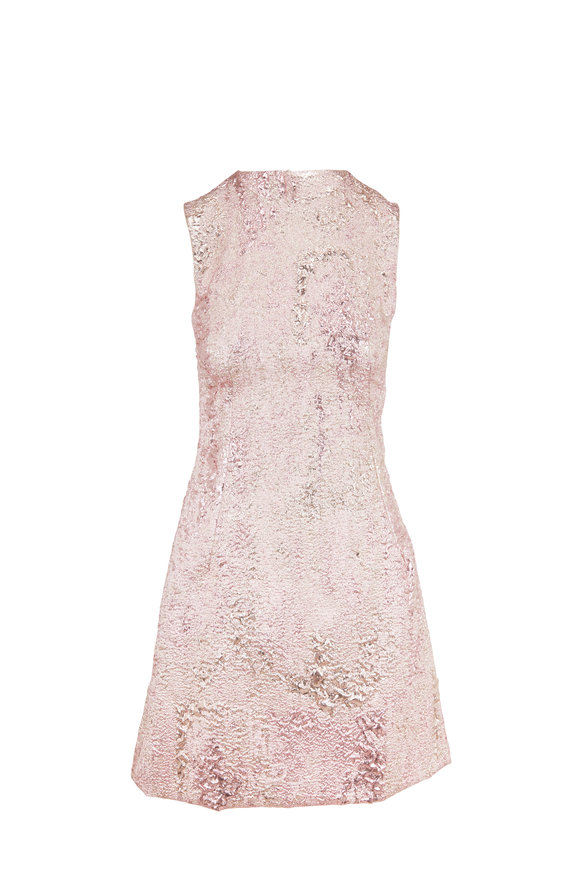 Dolce & Gabbana Metallic Rose Gold Jacquard Sleeveless Dress