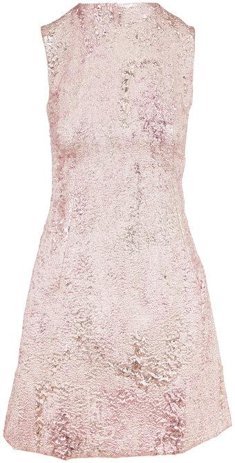 Dolce & Gabbana Metallic Rose Gold Jacquard Sleeveless Dress