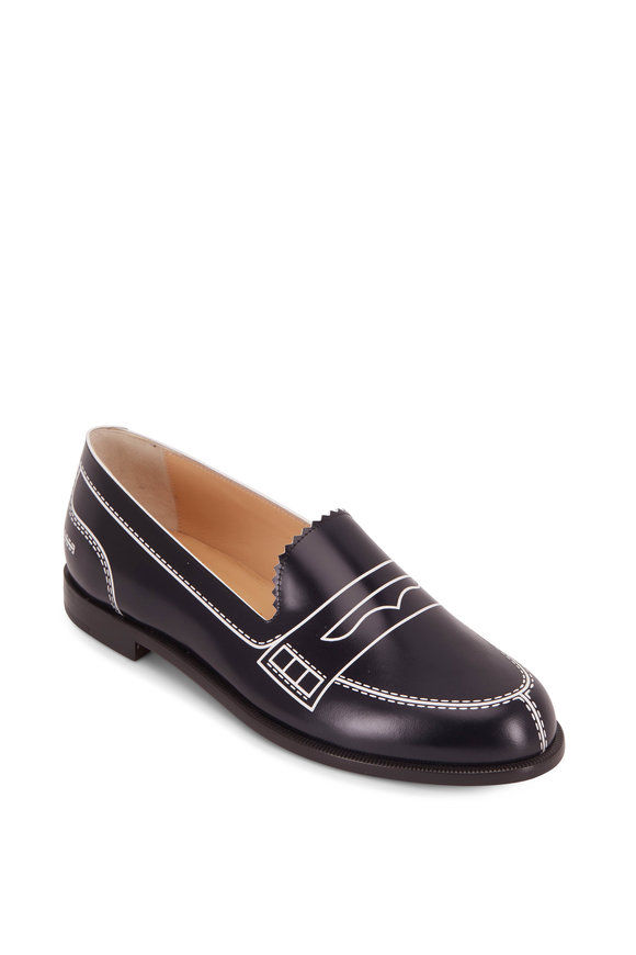 Christian Louboutin MocaLaureat Navy Blue & White Leather Loafer