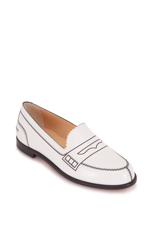 Christian Louboutin MocaLaureat White & Black Leather Loafer