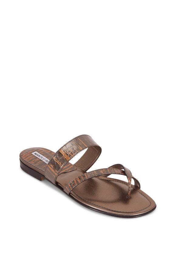 Manolo Blahnik Susa Bronze Snakeskin Thong Sandal
