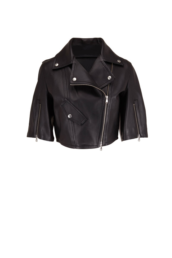 Dorothee Schumacher Modern Black Cropped Leather Jacket