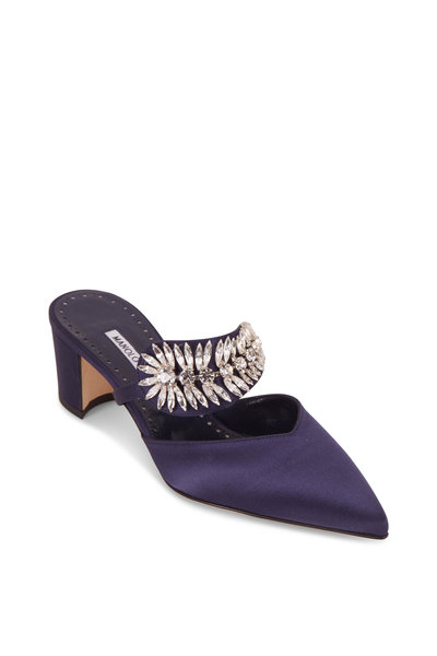 Manolo Blahnik - Newton Navy Blue Satin Crystal Mule, 50mm
