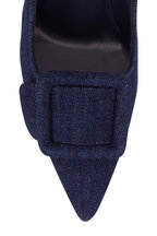 Manolo Blahnik - Maysalepump Blue Denim Buckle Pump, 90mm