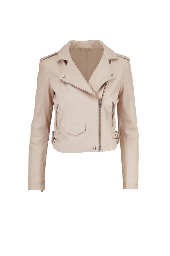 IRO Ashville Ivory Leather Moto Jacket
