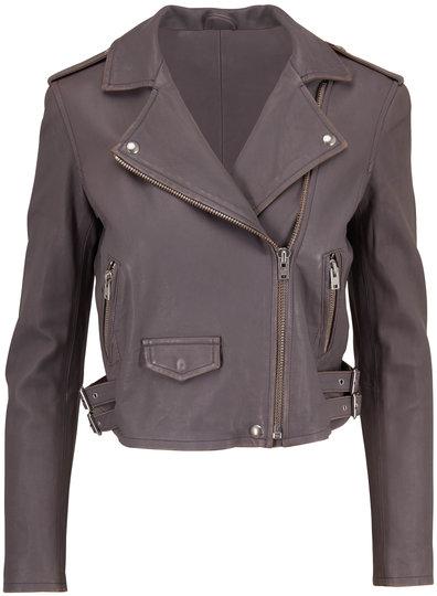 IRO Ashville Dark Gray Leather Moto Jacket