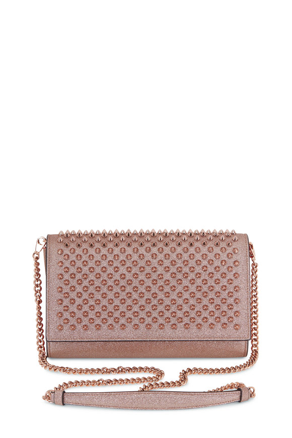 Christian Louboutin Paloma Pink Glitter Spiked Clutch