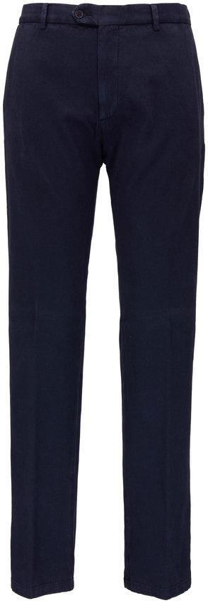 Maurizio Baldassari Navy Stretch Cotton Twill Flat Front Pant