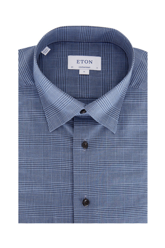 Eton Navy Blue Glen Plaid Contemporary Fit Sport Shirt