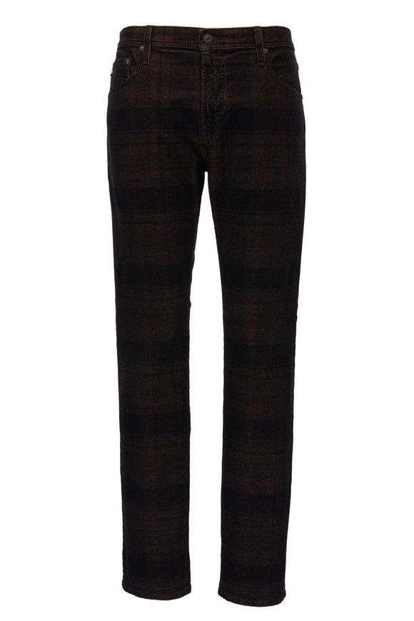 Tellis Auburn & Black Plaid Modern Slim Jean