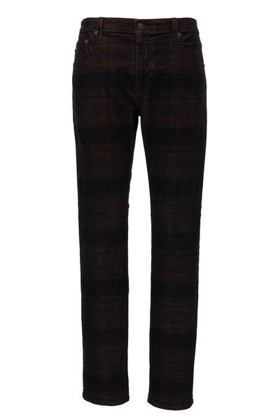 AG - Adriano Goldschmied - Tellis Auburn & Black Plaid Modern Slim Jean