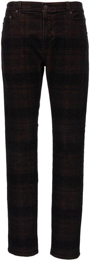 AG - Adriano Goldschmied Tellis Auburn & Black Plaid Modern Slim Jean