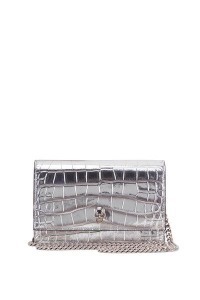 Alexander McQueen - Skull Silver Croc Embossed Small Crossbody Bag