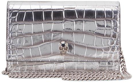 Alexander McQueen Skull Silver Croc Embossed Small Crossbody Bag