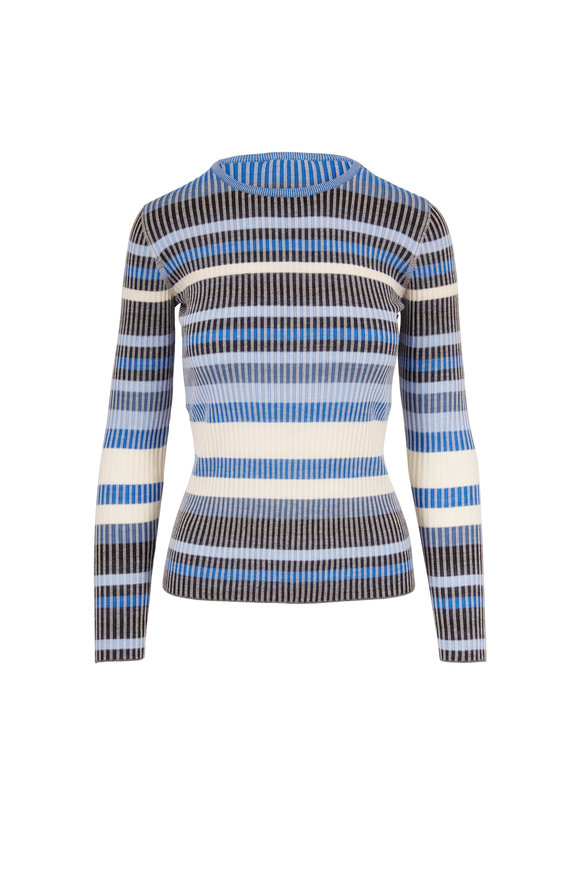 Akris Punto Multicolor Striped Wool Ribbed Sweater