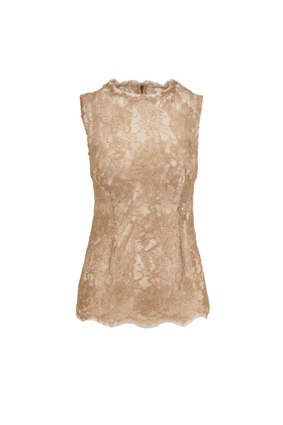 Dolce & Gabbana Metallic Gold Lace Fitted Top