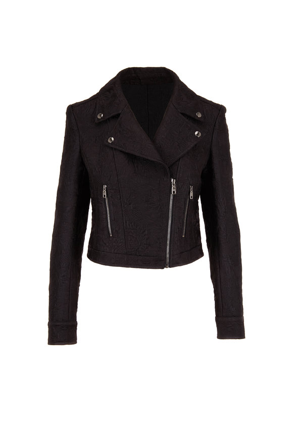Dolce & Gabbana Black Jacquard Cotton & Silk Moto Jacket