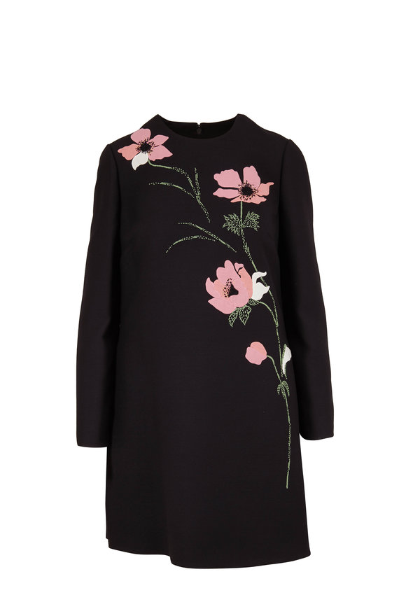 Valentino Black Crepe Couture Floral Embellished Dress