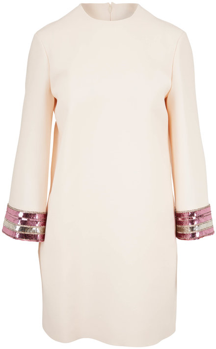 Valentino Ivory Crepe Couture Sequin Cuff Long Sleeve Dress