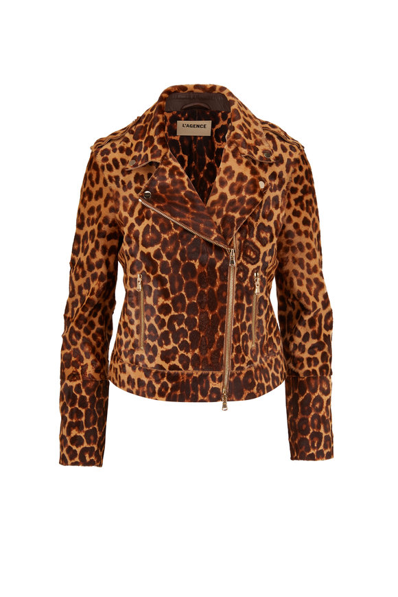 L'Agence Natural Leopard Calf Hair Moto Jacket