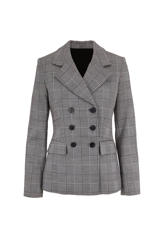 Adam Lippes Black & White Plaid Double-Breasted Blazer