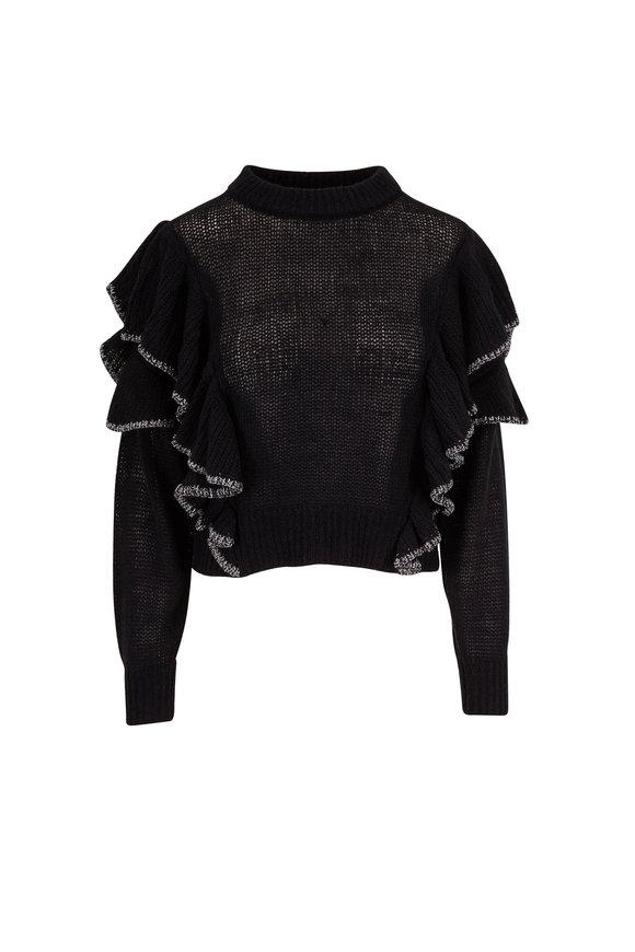 IRO Daly Black Merino & Cashmere Ruffle Sweater
