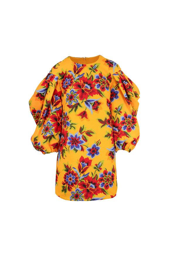 Carolina Herrera Goldenrod Floral Dramatic Sleeve Mini Dress