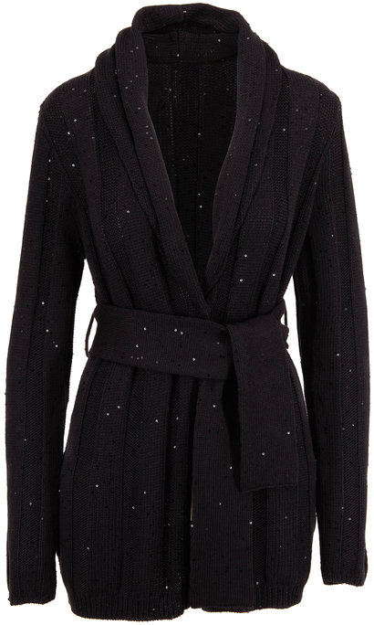 Brunello Cucinelli Exclusively Ours! Black Paillette Belted Cardigan