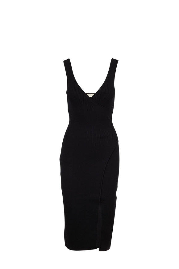 Jonathan Simkhai Black Sleeveless Ribbed Knit Wrap Dress