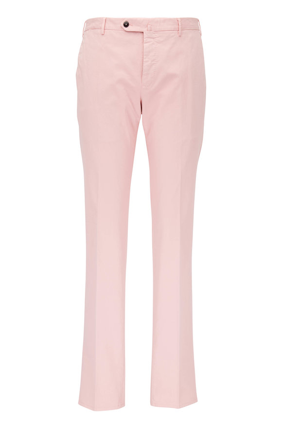 PT Torino Pink Cotton Flat Front Slim Fit Pant