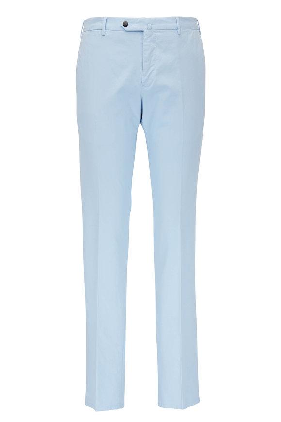 PT Torino Light Blue Cotton Flat Front Slim Fit Pant