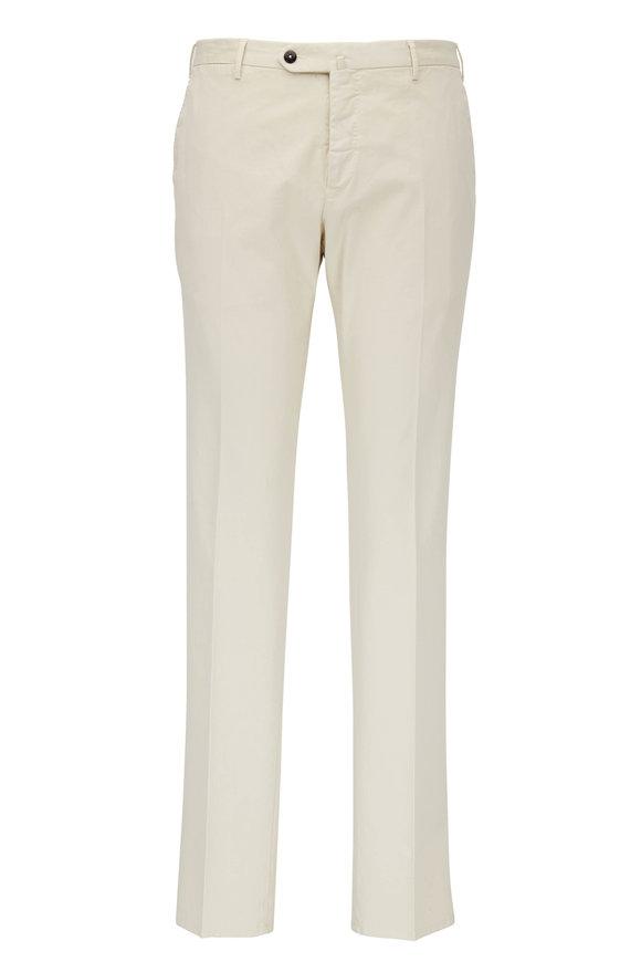 PT Torino Light Tan Cotton Flat Front Pant
