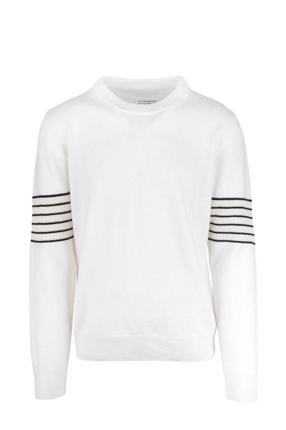 Maison Margiela Cream Wool & Cashmere Striped Detail Sweater